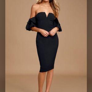 Lulu's Puff Sleeve Off the Shoulder Midi Dress
